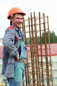 Happy builder construction worker — Stock Photo