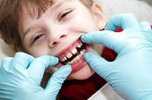 At dentist medic orthodontic doctor examination — Stock Photo