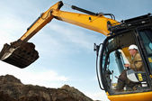 Excavator loader works — Foto Stock