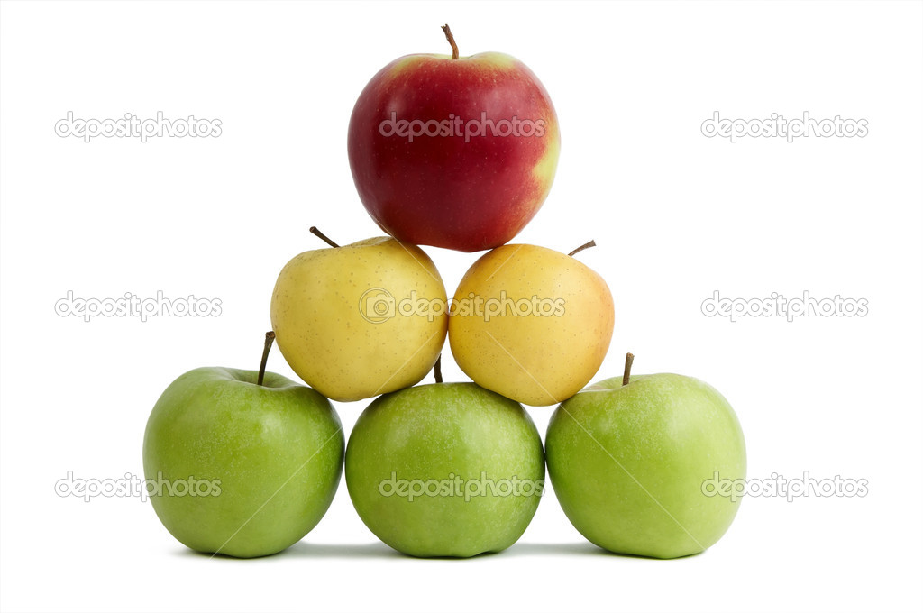 Group of ripe juicy fresh apples fruits isolated over white in pyramid order  Stock Photo #3242685