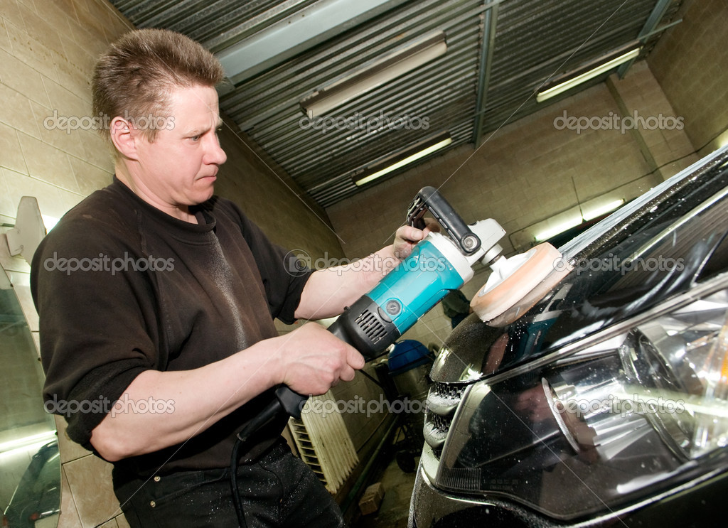 car polishing worker stock photo kalinovsky 3245775. Black Bedroom Furniture Sets. Home Design Ideas