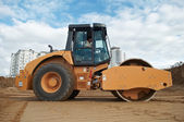 Soil vibration compactor at work — Stock Photo