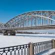 Bridge across the river in winter — Stock Photo