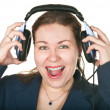Laughing operator young woman in a call center — Stock Photo