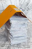 Gros tas de dessins de conception et de projet — Photo