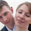 Young happy loving couple. Two faces close up — Stock Photo