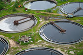 Group from the big sedimentation drainages. Water recycling — Stock Photo