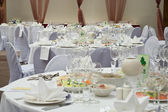 Wedding white reception place ready for guests. — Stock Photo