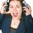 Laughing happy operator young woman in a call center. — Stock Photo