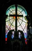 Catholic church stained-glass window — Stock Photo
