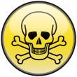 Stock Vector: Skull and bones vector round hazardous sign