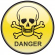 Skull and bones danger vector round hazardous sign — Stock Vector