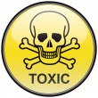 Stock Vector: Skull and bones toxic vector round hazardous sign
