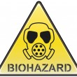Biohazard gas mask vector triangle hazardous sign — Stock Vector