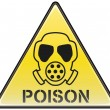 Poison gas mask vector triangle hazardous sign — Stok Vektör