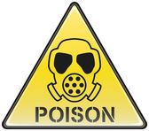 Poison gas mask vector triangle hazardous sign — Stock Vector