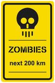Vector sign zombies next 200 km — Stock Vector