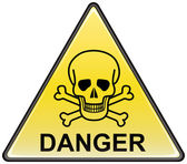 Skull and bones danger triangular vector sign — Stock Vector