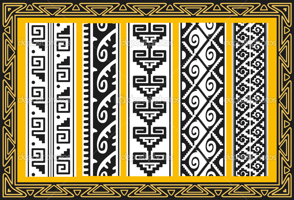 Mayan Border Designs http://depositphotos.com/3853469/stock-illustration-Set-of-ancient-american-indian-patterns.html