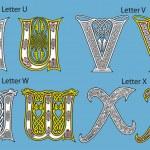 Ancient Celtic alphabet (26 letters) — Stock Vector
