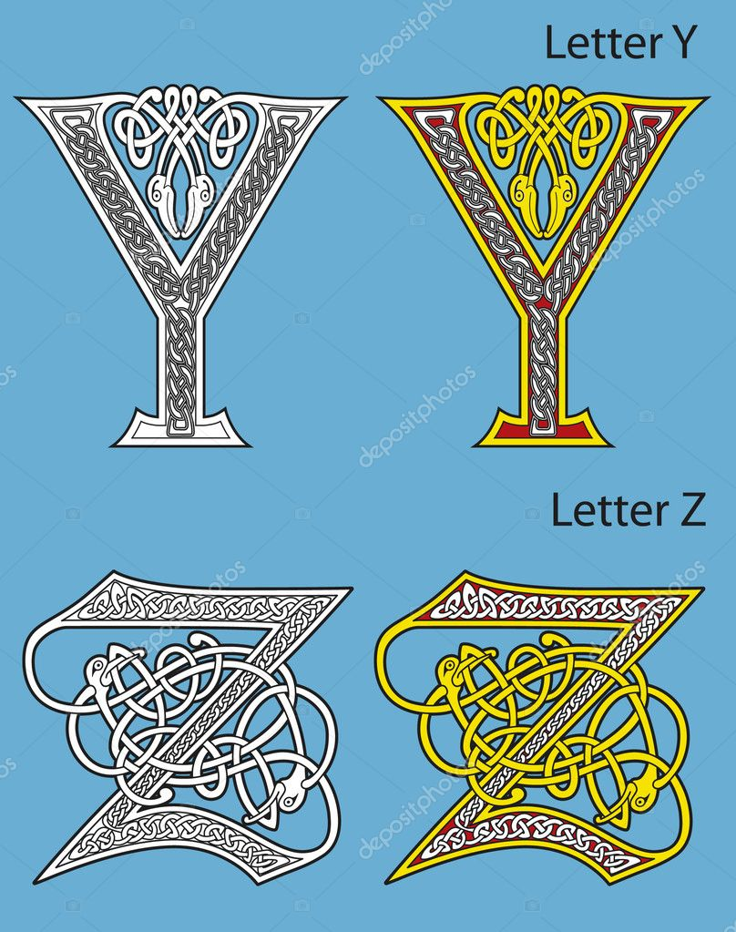 Ancient Gaelic Alphabet http://depositphotos.com/3867123/stock-illustration-Ancient-Celtic-alphabet-26-letters.html