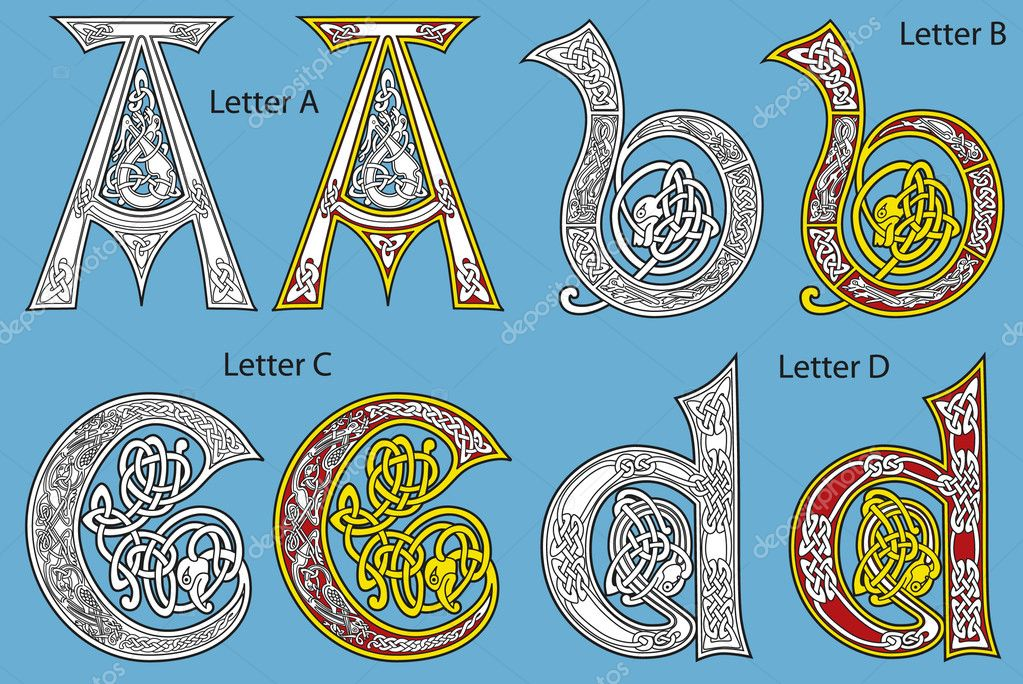Ancient Gaelic Alphabet http://depositphotos.com/3867126/stock-illustration-Ancient-Celtic-alphabet-26-letters.html
