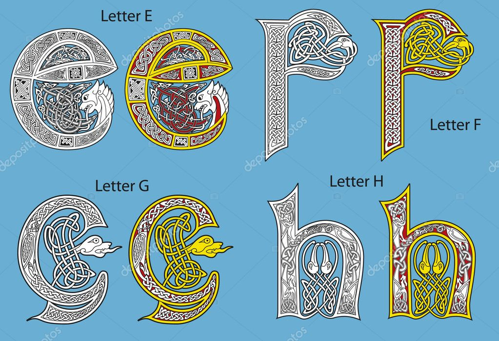 Ancient Gaelic Alphabet http://depositphotos.com/3867127/stock-illustration-Ancient-Celtic-alphabet-26-letters.html