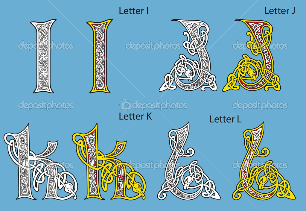 Ancient Gaelic Alphabet http://depositphotos.com/3867128/stock-illustration-Ancient-Celtic-alphabet-26-letters.html