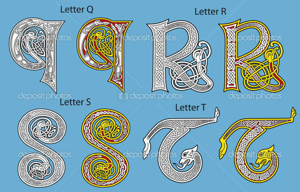 Ancient Gaelic Alphabet http://depositphotos.com/3867132/stock-illustration-Ancient-Celtic-alphabet-26-letters.html