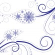 Stock Vector: Snowflakes background with leaves