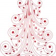 Xmas curly red tree — Stock Vector