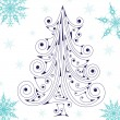 Stock Vector: Blue christmas tree with beautiful snowf