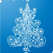 Stock Vector: White xmas tree on blue
