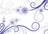 Snowflakes background with leaves — Stock Vector