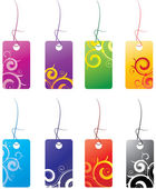 Tags with curly elements — Stock Vector