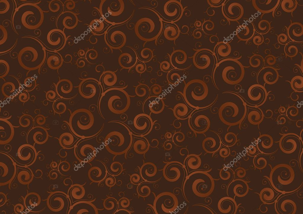 Coffee color background with curly elements — Stock Vector #2778272