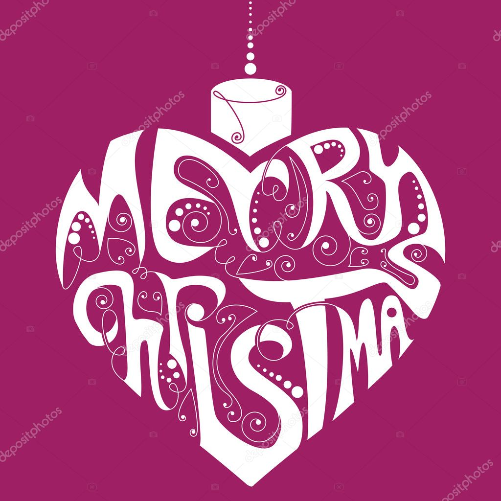 Merry Christmas decoration with heart and text — Stock Vector #2778673