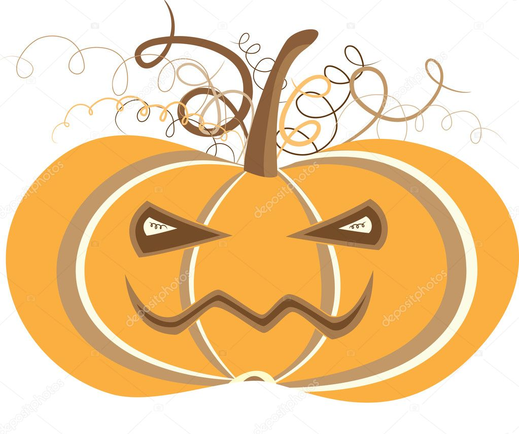 Halloween pumpkin with curly hear — Stock Vector #2778720