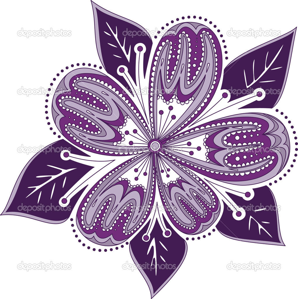 Beautiful ornament purple flower with dots elements — Stock Vector #2778727