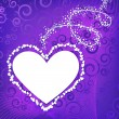 Violet heart frame with curly elements — Vettoriali Stock