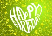 Happy birthday heart on green background — Stock Vector