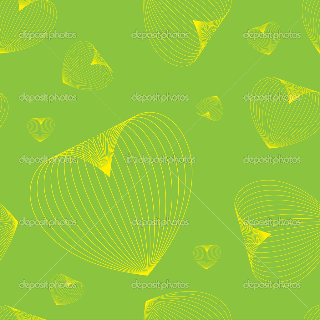 Seamless pattern with hearts on green background — Stock Vector #2783017