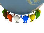 Grupp av smileys stöds i världen. — Stockfoto