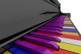 Color grand piano keys — 图库照片