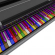 Stock Photo: Color grand piano keys