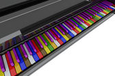 Teclas de piano de cauda de cor — Foto Stock