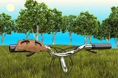 Bike on the background of trees — Stock Photo