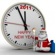 Santa Claus with New Year's clock — Stock Photo