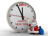 Santa Claus with New Year's clock — Foto Stock