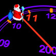 Santa Claus with New Year's clock — Stockfoto